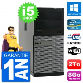 PC Dell 3010 MT i5-2400 RAM 8Go Disque Dur 2To HDMI Windows 10 Wifi