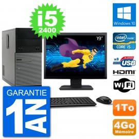 """PC Dell 3010 MT Ecran 19"""" i5-2400 RAM 4Go Disque Dur 1To HDMI Windows 10 Wifi"""