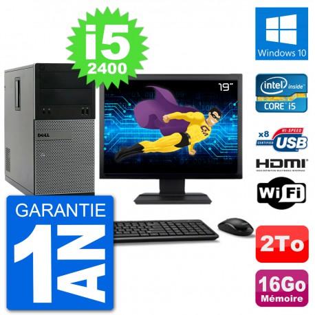 """PC Dell 3010 MT Ecran 19"""" i5-2400 RAM 16Go Disque Dur 2To HDMI Windows 10 Wifi"""
