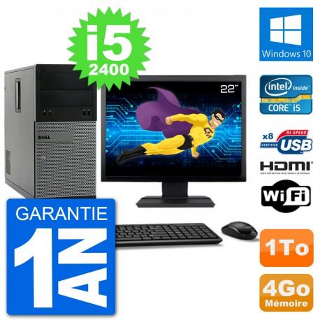 """PC Dell 3010 MT Ecran 22"""" i5-2400 RAM 4Go Disque Dur 1To HDMI Windows 10 Wifi"""
