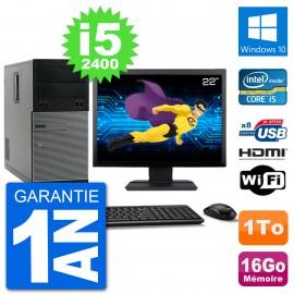 """PC Dell 3010 MT Ecran 22"""" i5-2400 RAM 16Go Disque Dur 1To HDMI Windows 10 Wifi"""