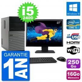 """PC Dell 3010 MT Ecran 27"""" i5-2400 RAM 16Go Disque Dur 250Go HDMI Windows 10 Wifi"""