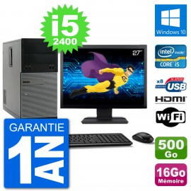 """PC Dell 3010 MT Ecran 27"""" i5-2400 RAM 16Go Disque Dur 500Go HDMI Windows 10 Wifi"""
