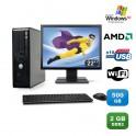 Lot PC DELL Optiplex 740 SFF Athlon 2.7GHz 2Go DDR2 500Go WIFI XP Pro + Ecran 22