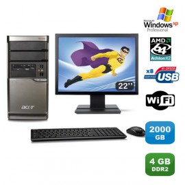 Lot PC ACER M420 Athlon X2 4850B 2.5Ghz 4Go 2000Go Graveur WIFI XP Pro +Ecran 22