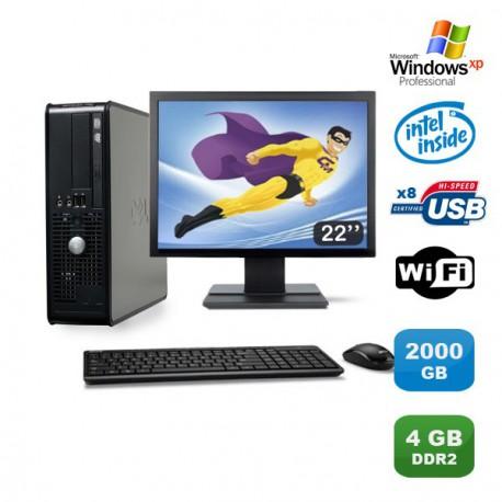 "Lot PC DELL Optiplex 760 SFF Pentium D 2.2Ghz 4Go 2000Go WIFI XP Pro + Ecran 22"""