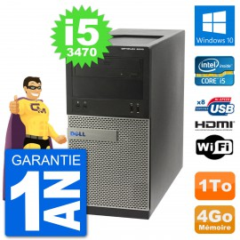 PC Dell 3010 MT i5-3470 RAM 4Go Disque Dur 1To HDMI Windows 10 Wifi