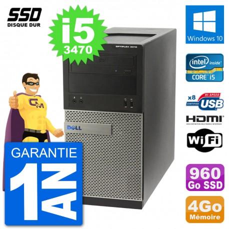 PC Dell 3010 MT i5-3470 RAM 4Go SSD 960Go HDMI Windows 10 Wifi