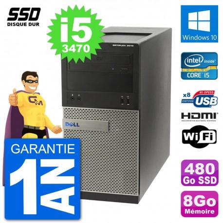 PC Dell 3010 MT i5-3470 RAM 8Go SSD 480Go HDMI Windows 10 Wifi