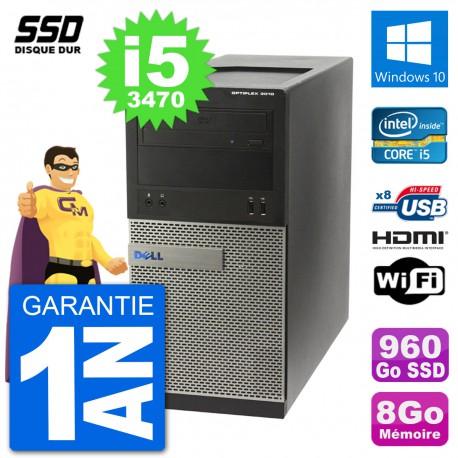 PC Dell 3010 MT i5-3470 RAM 8Go SSD 960Go HDMI Windows 10 Wifi