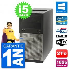 PC Dell 3010 MT i5-3470 RAM 16Go Disque Dur 2To HDMI Windows 10 Wifi