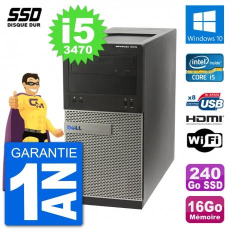PC Dell 3010 MT i5-3470 RAM 16Go SSD 240Go HDMI Windows 10 Wifi