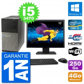 "PC Dell 3010 MT Ecran 19"" i5-3470 RAM 4Go Disque Dur 250Go HDMI Windows 10 Wifi"