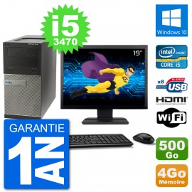 "PC Dell 3010 MT Ecran 19"" i5-3470 RAM 4Go Disque Dur 500Go HDMI Windows 10 Wifi"