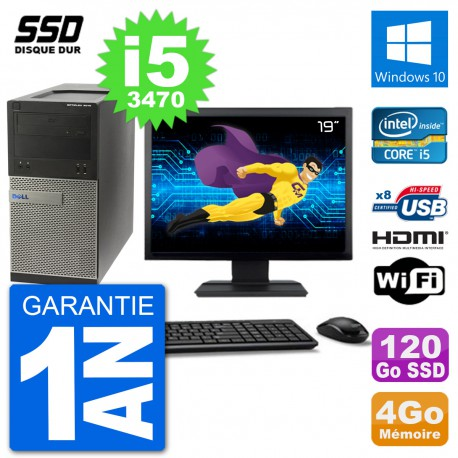 """PC Dell 3010 MT Ecran 19"""" i5-3470 RAM 4Go SSD 120Go HDMI Windows 10 Wifi"""