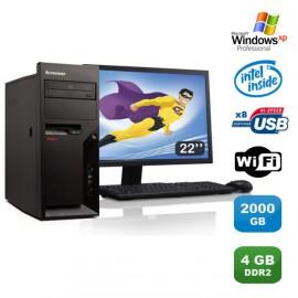 """Lot PC Lenovo M57 6075-CTO Pentium D 1.80Ghz 4Go 2000Go WIFI XP Pro + Ecran 22"""""""
