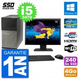"""PC Dell 3010 MT Ecran 19"""" i5-3470 RAM 4Go SSD 240Go HDMI Windows 10 Wifi"""