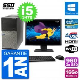 """PC Dell 3010 MT Ecran 19"""" i5-3470 RAM 16Go SSD 960Go HDMI Windows 10 Wifi"""