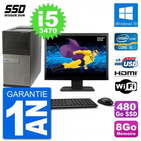 """PC Dell 3010 MT Ecran 22"""" i5-3470 RAM 8Go SSD 480Go HDMI Windows 10 Wifi"""