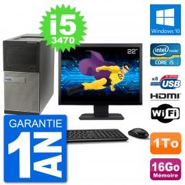 """PC Dell 3010 MT Ecran 22"""" i5-3470 RAM 16Go Disque Dur 1To HDMI Windows 10 Wifi"""