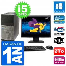 """PC Dell 3010 MT Ecran 22"""" i5-3470 RAM 16Go Disque Dur 2To HDMI Windows 10 Wifi"""