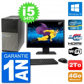 "PC Dell 3010 MT Ecran 27"" i5-3470 RAM 4Go Disque Dur 2To HDMI Windows 10 Wifi"