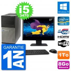 """PC Dell 3010 MT Ecran 27"""" i5-3470 RAM 8Go Disque Dur 1To HDMI Windows 10 Wifi"""