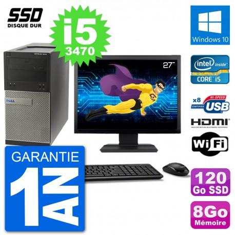 """PC Dell 3010 MT Ecran 27"""" i5-3470 RAM 8Go SSD 120Go HDMI Windows 10 Wifi"""