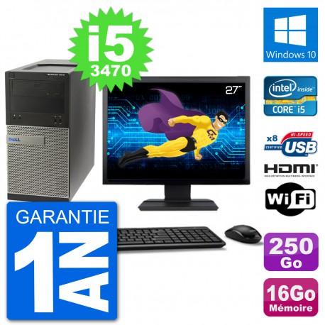 """PC Dell 3010 MT Ecran 27"""" i5-3470 RAM 16Go Disque Dur 250Go HDMI Windows 10 Wifi"""