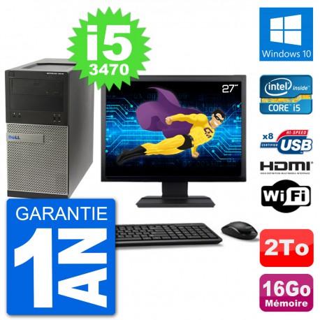 """PC Dell 3010 MT Ecran 27"""" i5-3470 RAM 16Go Disque Dur 2To HDMI Windows 10 Wifi"""
