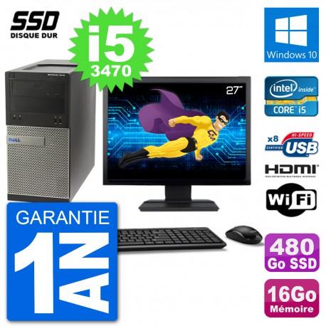 """PC Dell 3010 MT Ecran 27"""" i5-3470 RAM 16Go SSD 480Go HDMI Windows 10 Wifi"""