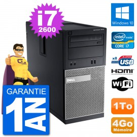 PC Dell 3010 MT i7-2600 RAM 4Go Disque Dur 1To HDMI Windows 10 Wifi