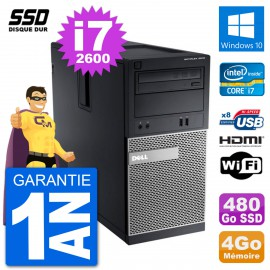 PC Dell 3010 MT i7-2600 RAM 4Go SSD 480Go HDMI Windows 10 Wifi