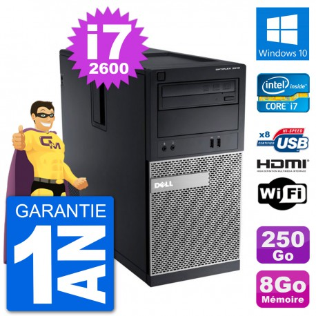 PC Dell 3010 MT i7-2600 RAM 8Go Disque Dur 250Go HDMI Windows 10 Wifi