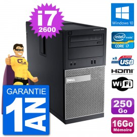 PC Dell 3010 MT i7-2600 RAM 16Go Disque Dur 250Go HDMI Windows 10 Wifi