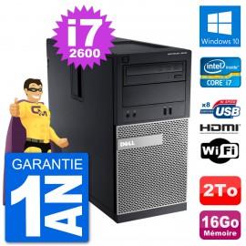 PC Dell 3010 MT i7-2600 RAM 16Go Disque Dur 2To HDMI Windows 10 Wifi