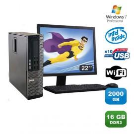 Lot PC DELL Optiplex 790 SFF Pentium G840 2.8Ghz 16Go 2To WIFI W7 Pro + Ecran 22