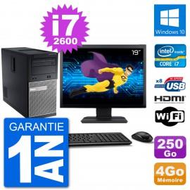 """PC Dell 3010 MT Ecran 19"""" i7-2600 RAM 4Go Disque Dur 250Go HDMI Windows 10 Wifi"""