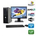 Lot PC DELL Optiplex 740 SFF Athlon 2.7GHz 4Go 2000Go WIFI DVD XP Pro + Ecran 22