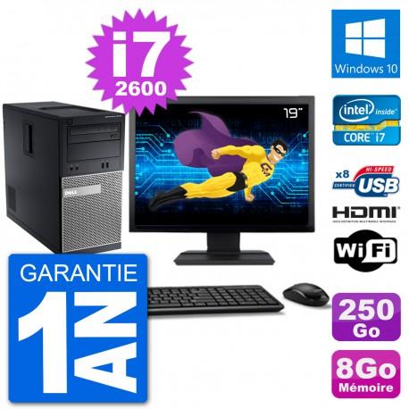 """PC Dell 3010 MT Ecran 19"""" i7-2600 RAM 8Go Disque Dur 250Go HDMI Windows 10 Wifi"""
