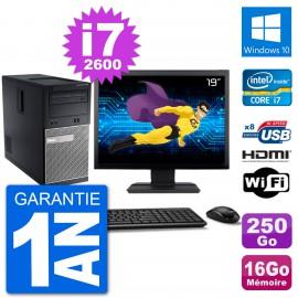 """PC Dell 3010 MT Ecran 19"""" i7-2600 RAM 16Go Disque Dur 250Go HDMI Windows 10 Wifi"""