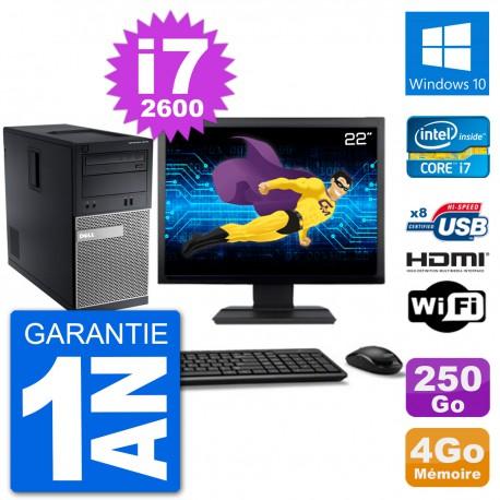 """PC Dell 3010 MT Ecran 22"""" i7-2600 RAM 4Go Disque Dur 250Go HDMI Windows 10 Wifi"""
