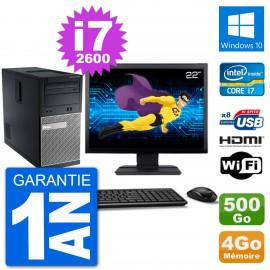 """PC Dell 3010 MT Ecran 22"""" i7-2600 RAM 4Go Disque Dur 500Go HDMI Windows 10 Wifi"""