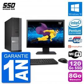 """PC Dell Optiplex 3020 SFF Ecran 19"""" G3220 RAM 8Go SSD 120Go Windows 10 Wifi"""