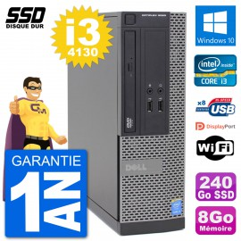 PC Dell Optiplex 3020 SFF i3-4130 RAM 8Go SSD 240Go Windows 10 Wifi
