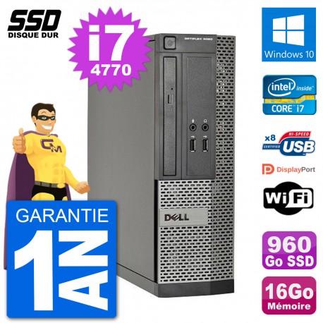 PC Dell Optiplex 3020 SFF i7-4770 RAM 16Go SSD 960Go Windows 10 Wifi