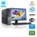 Lot PC DELL Optiplex 390 DT G630 2.7Ghz 8Go 500Go Graveur WIFI W7 Pro + Ecran 19