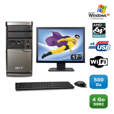 Lot PC ACER M420 Athlon X2 4850B 2.5Ghz 4Go 500Go Graveur WIFI XP Pro +Ecran 17