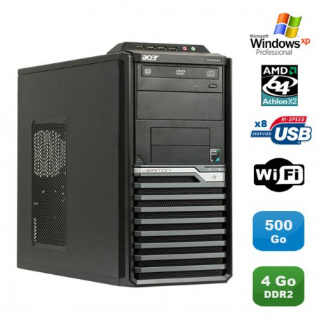 PC ACER Veriton M421G Tour Athlon X2 4850B 2.5Ghz 4Go 500Go WIFI Graveur XP Pro