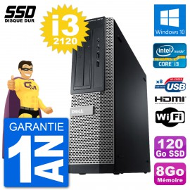 PC Dell 3010 DT i3-2120 RAM 8Go SSD 120Go HDMI Windows 10 Wifi